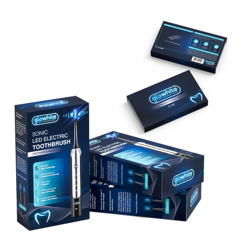 Glowhite Teeth Whitening Electric Toothbrush Blue light L.E.D. Brush Head Rechargeable Travel Automatic Sonic Electric Toothbrush with Teeth Whitening Gel Syringe Refill 3-Pack, 35% Carbamide Peroxide, (3) 2ml Gel Pen and Charcoal Powder