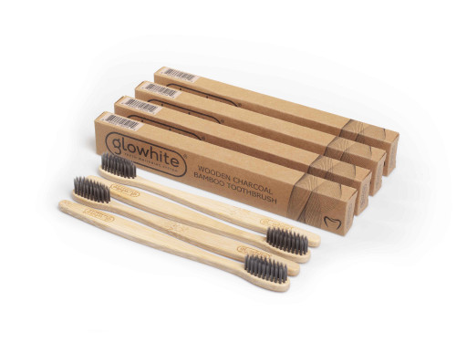 (4- Pack) Glowhite Eco-friendly Wooden Bamboo Charcoal Toothbrush