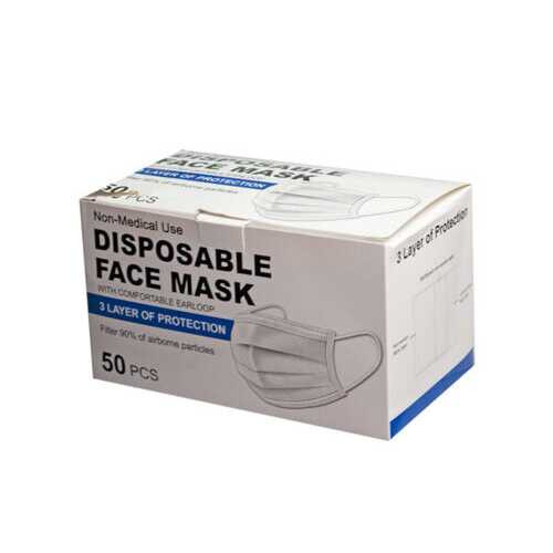 10-Pack Blue 3-Ply Disposable Face Masks with Comfort Ear Loop ( Case of 5 ) U975-MO204-5
