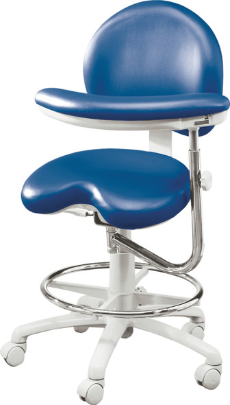 Premium Ergonomic Dental Chair 9000 Series With Assistant stools features adjustable foot ring and ratcheted body support