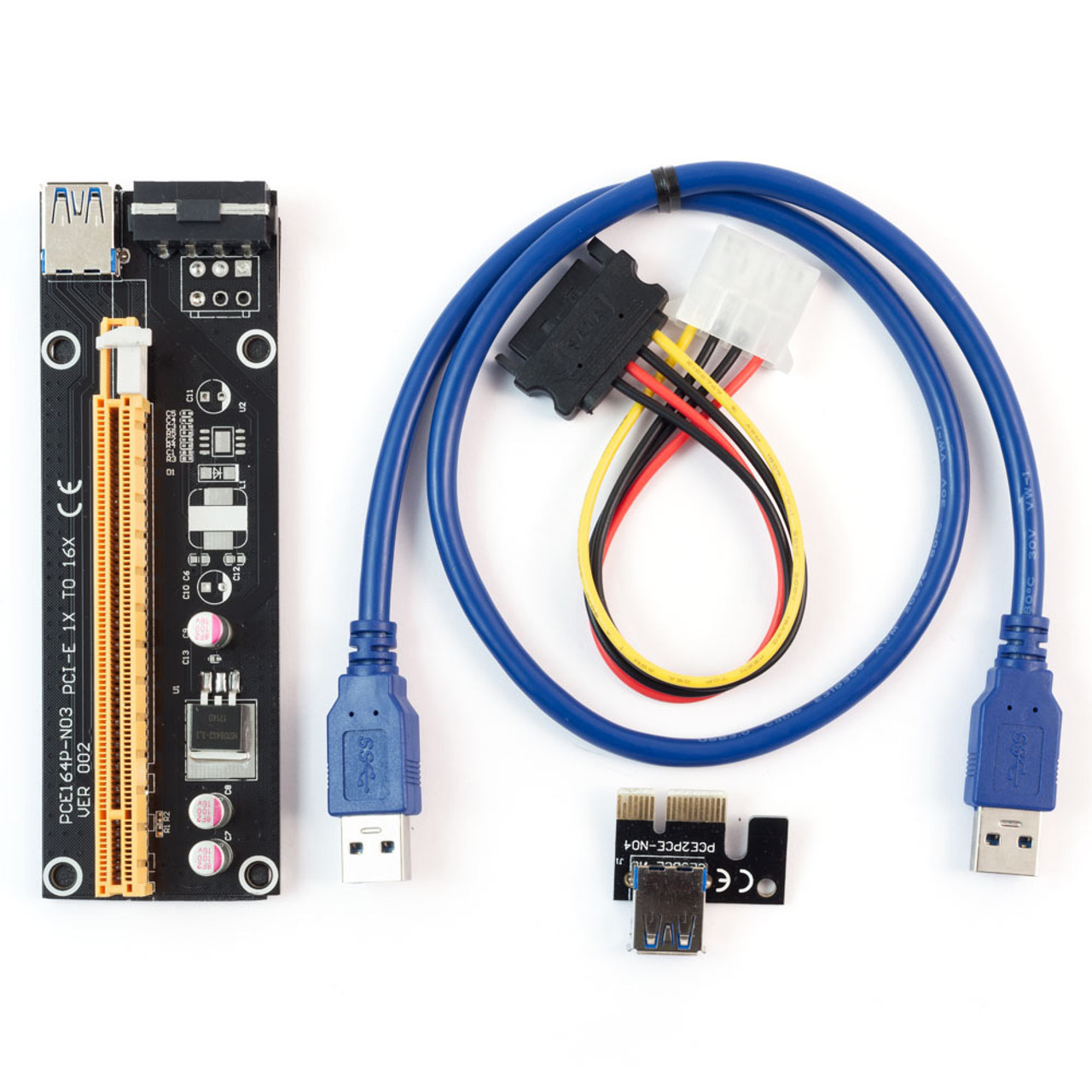 60cm PCI-E Adapter SATA USB 3 0 1x to 16x for Mining 4pin Molex Multi GPU  Riser