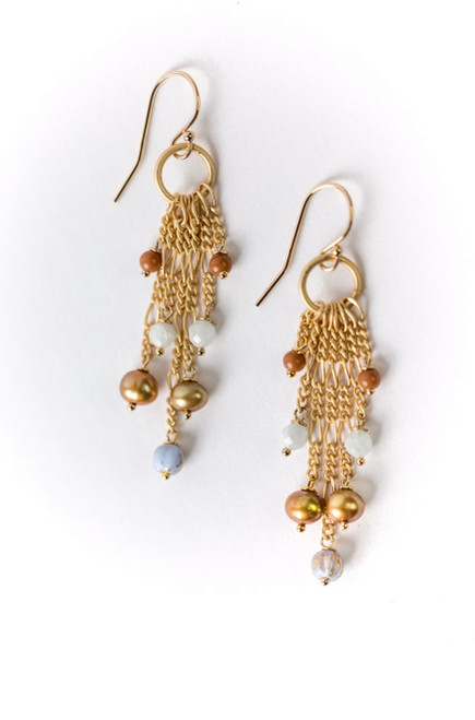 Blue Lace Earring Gold