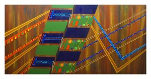 "Processing, 36"" x 72"" acrylic on canvas by Jordan Hockett."