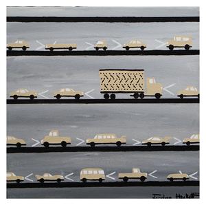 "Reaction Time, 12"" x 12"" acrylic on canvas by Jordan Hockett."