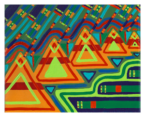 "Teepees, 10.25"" x 12.25"" acrylic on canvas by Jordan Hockett."