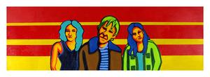 "The Gang, 12"" x 36"" acrylic on canvas by Jordan Hockett."