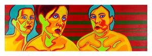 "Judgement, 12"" x 36"" acrylic on canvas by Jordan Hockett."