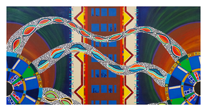 "Between Worlds, 24"" x 48"" acrylic on canvas by Jordan Hockett."