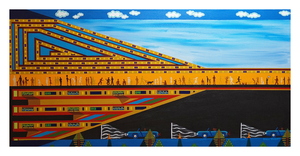 "Gathering, 24"" x 48"" acrylic on canvas by Jordan Hockett."