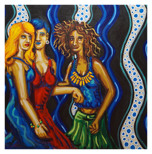 "Girls Night Out, 30"" x 30"" acrylic on canvas by Jordan Hockett."