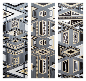 """Bring the Noise, triptych of 24"""" x 8"""" acrylics on canvas by Jordan Hockett. Black and white."""