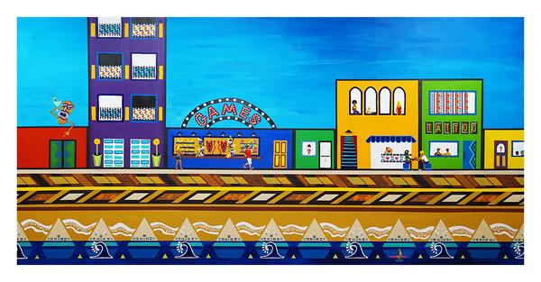 """Too Much Fun on the Boardwalk, 36"""" x 72"""" acrylic on canvas by Jordan Hockett."""