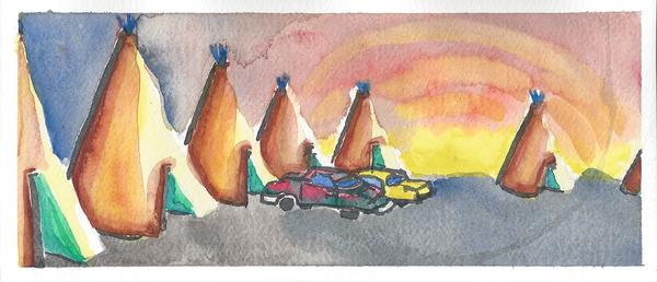 "Teepee, 4"" x 9"" watercolor by Jordan Hockett."