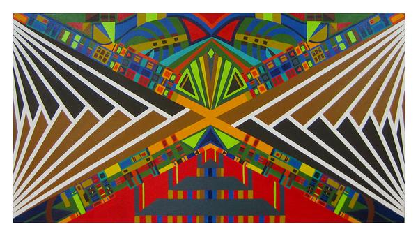 "Heaven and Hell, 24"" x 48"" acrylic on canvas by Jordan Hockett."