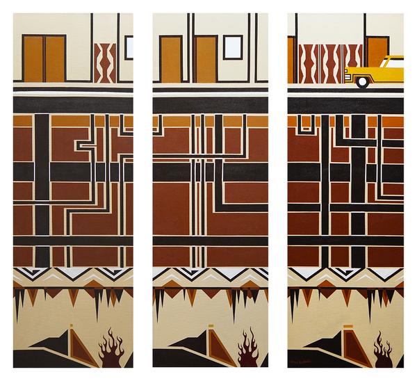 "Going Through Hell, triptych of 36"" x 12"" acrylics on canvas by Jordan Hockett."