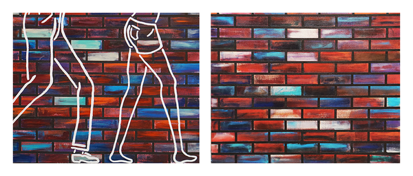 """Making Our Way to Somewhere, diptych of 16"""" x 20"""" acrylics on canvas by Jordan Hockett."""