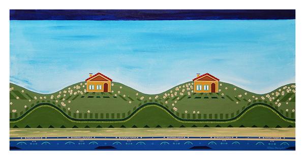 """Peace on the Beach, 24"""" x 48"""" acrylic on canvas by Jordan Hockett."""