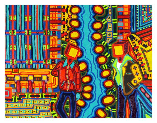 "Block Heads, 14"" x 18"" acrylic on canvas by Jordan Hockett."