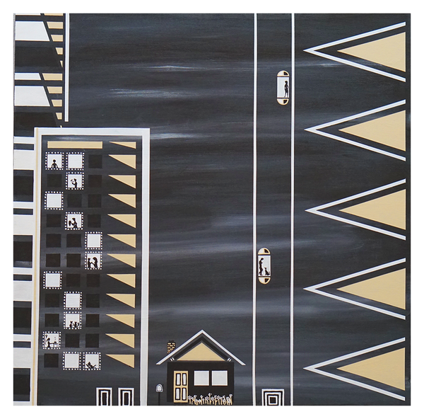 "This Old House, 30"" x 30"" acrylic on canvas by Jordan Hockett."