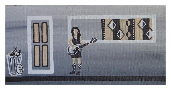 "These Boots, 6"" x 12"" acrylic on canvas by Jordan Hockett."
