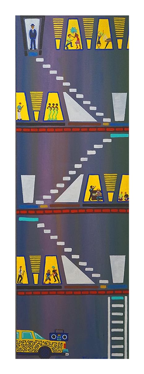 "Keep On Knockin', 36"" x 12"" acrylic on canvas by Jordan Hockett."