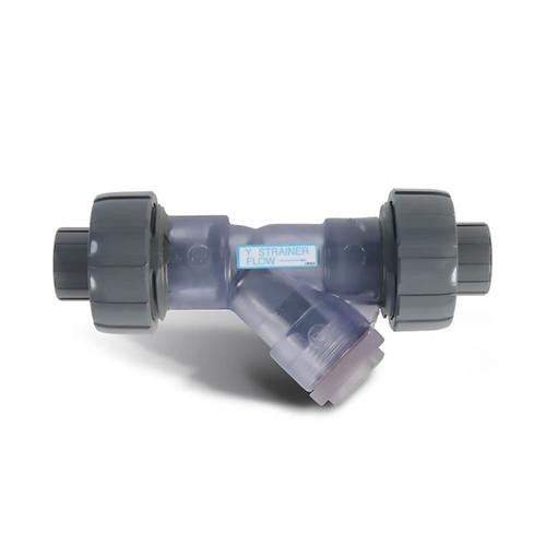 """YS00125SU 1-1/4"""" Clear PVC YS Series True Union Y-Strainer"""