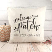 welcome to our patch throw pillow