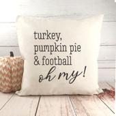 turkey pumpkin pie and football