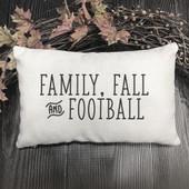 family fall and football lumbar throw pillow