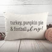 Turkey Pumpkin Pie and Football Lumbar Pillow