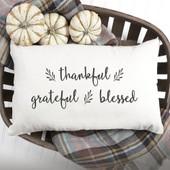 thankful, grateful & blessed lumbar throw pillow