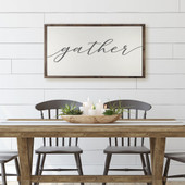 Large Wood Gather Sign For Dining Room