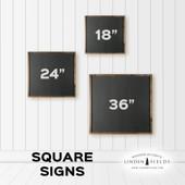 Home Established Square Wood Sign