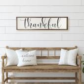 Large Framed Wooden Thankful Sign