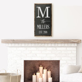 Last Name Initial Wooden Farmhouse Sign