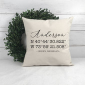 Latitude and Longitude GPS Coordinates Pillow
