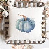 Teal Pumpkin Throw Pillow Cover