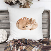 Watercolor Fawn Print Pillow Cover