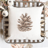 Watercolor Pine Cone Fall Throw Pillow