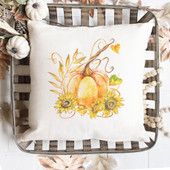 Watercolor Pumpkin Fall Pillow
