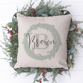 Personalized Farmhouse Christmas Wreath Pillow