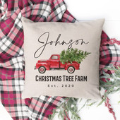 Red Truck Christmas Tree Personalized Pillow Cover