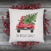 Personalized Christmas Truck Pillow