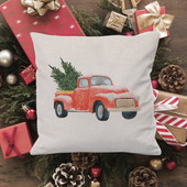 Farmhouse Red Truck Christmas Decor Throw Pillow