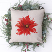 Poinsettia Watercolor Christmas Pillow