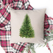 Watercolor Christmas Tree Throw Pillow Cover