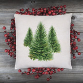 Watercolor Pine Tree Christmas Pillow Cover