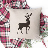 Rudolph Reindeer Farmhouse Christmas Pillow Cover
