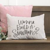 Wanna Build A Snowman Christmas Throw Pillow