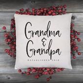 Grandma and Grandpa Established Date Throw Pillow